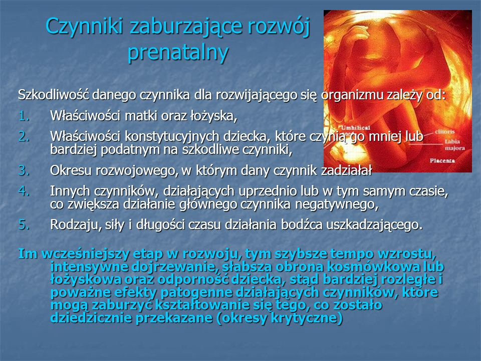 Czynniki zaburzające rozwój prenatalny