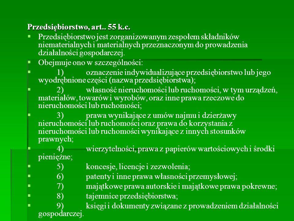 Przedsiębiorstwo, art.. 55 k.c.