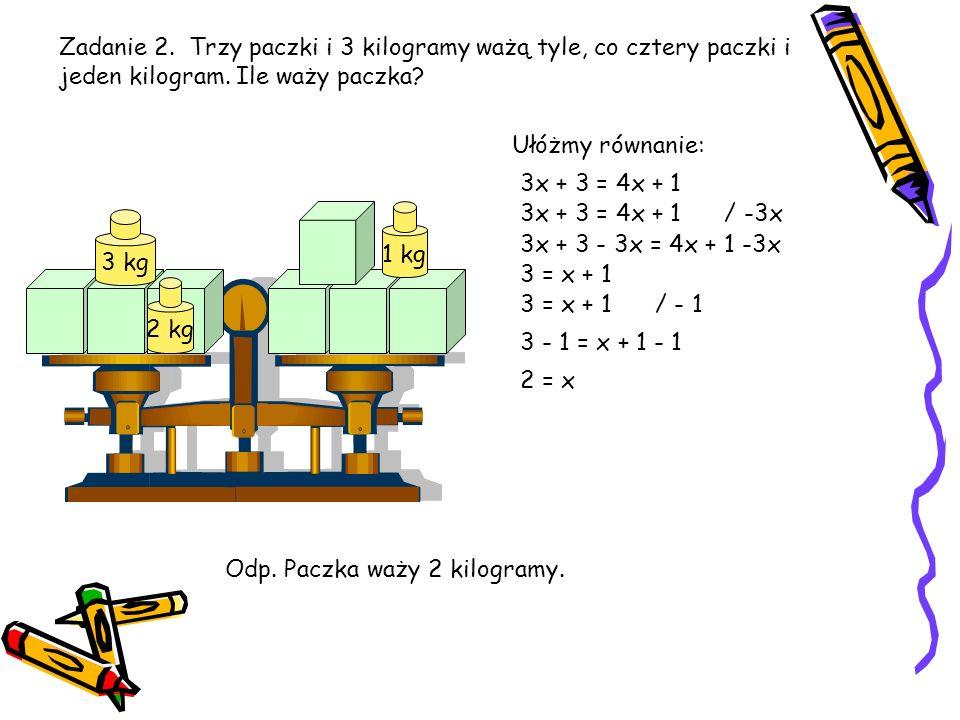 Zadanie 2. Trzy paczki i 3 kilogramy ważą tyle, co cztery paczki i jeden kilogram. Ile waży paczka