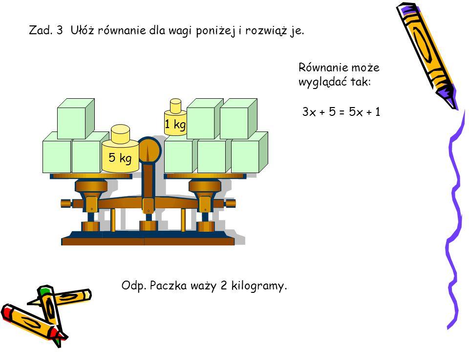 Zad. 3 Ułóż równanie dla wagi poniżej i rozwiąż je.
