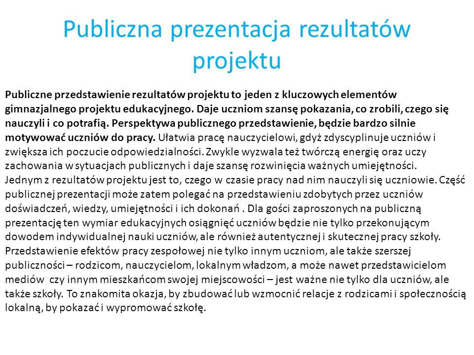 Publiczna prezentacja rezultatów projektu