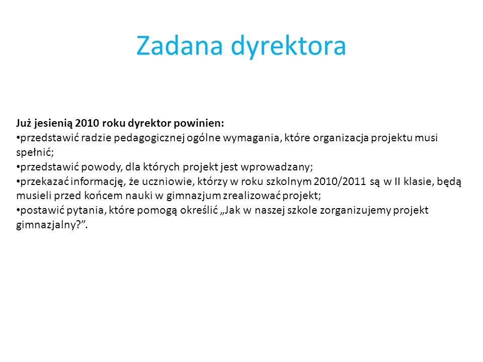 Zadana dyrektora Już jesienią 2010 roku dyrektor powinien: