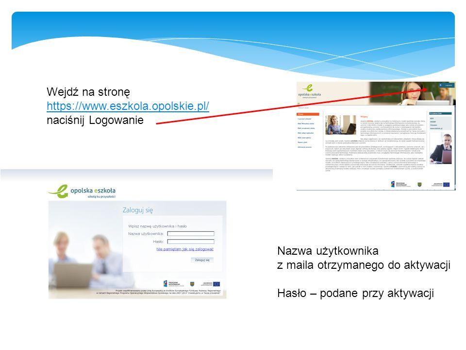 Wejdź na stronę https://www.eszkola.opolskie.pl/ naciśnij Logowanie. Nazwa użytkownika. z maila otrzymanego do aktywacji.
