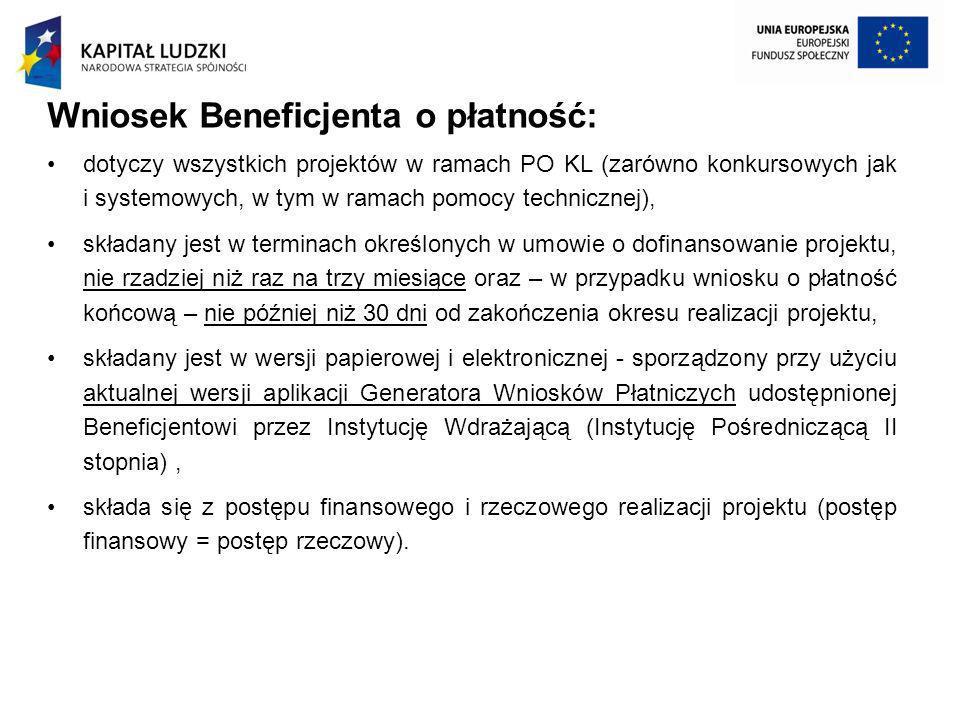 Wniosek Beneficjenta o płatność: