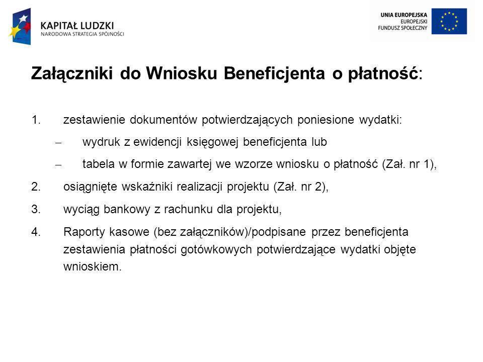 Załączniki do Wniosku Beneficjenta o płatność: