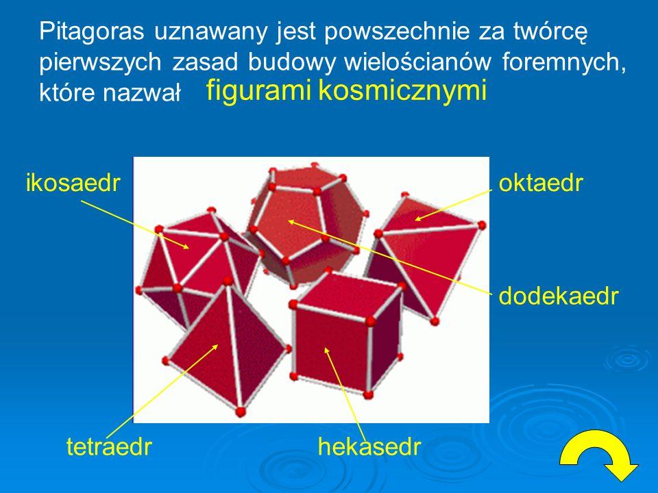 figurami kosmicznymi Pitagoras uznawany jest powszechnie za twórcę