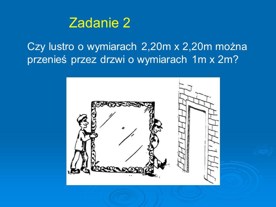Zadanie 2 Czy lustro o wymiarach 2,20m x 2,20m można
