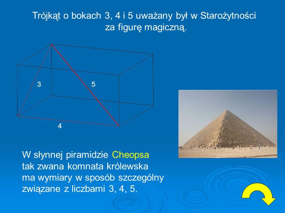 Trójkąt o bokach 3, 4 i 5 uważany był w Starożytności
