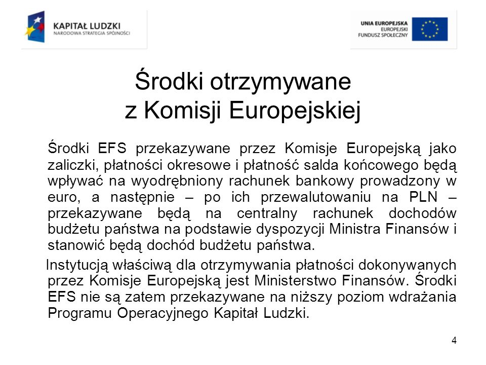 Środki otrzymywane z Komisji Europejskiej