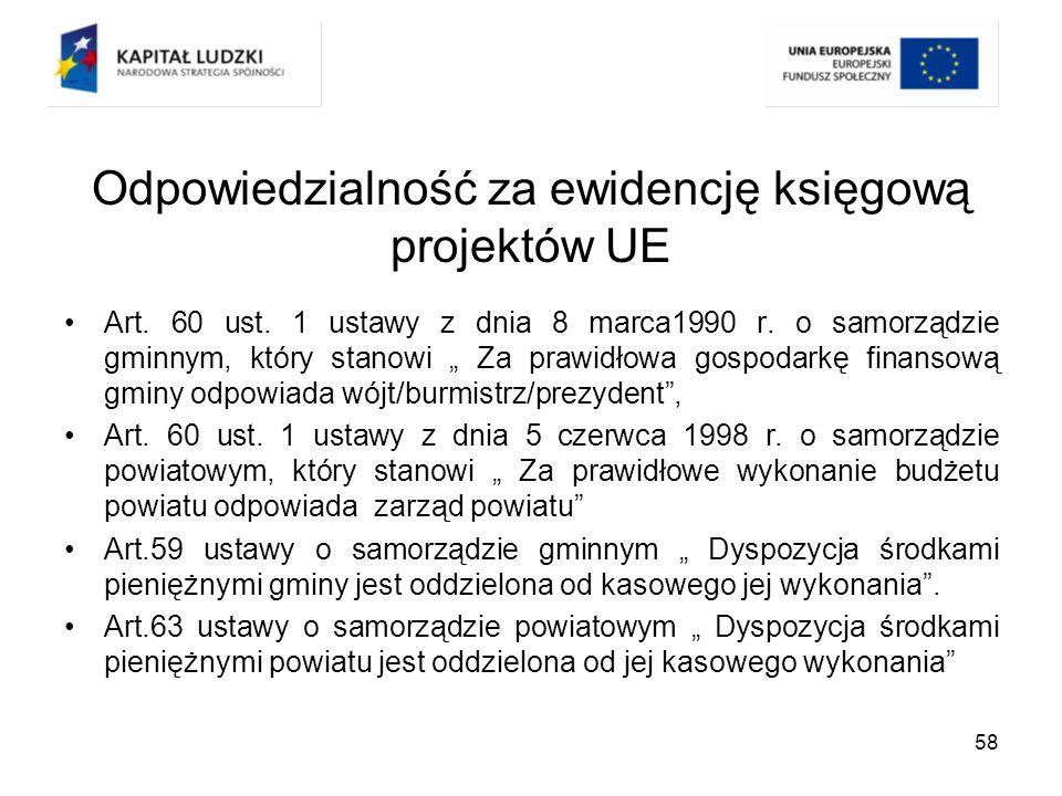 Odpowiedzialność za ewidencję księgową projektów UE