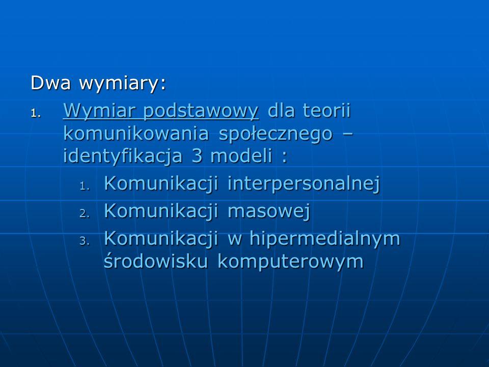 Dwa wymiary:Wymiar podstawowy dla teorii komunikowania społecznego – identyfikacja 3 modeli : Komunikacji interpersonalnej.