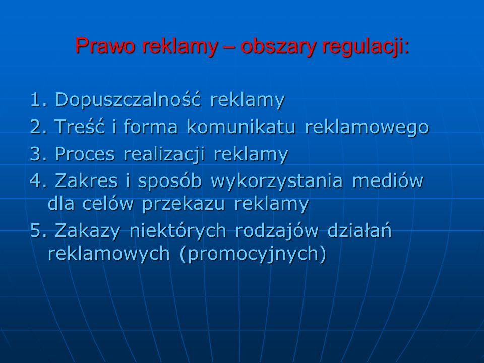 Prawo reklamy – obszary regulacji: