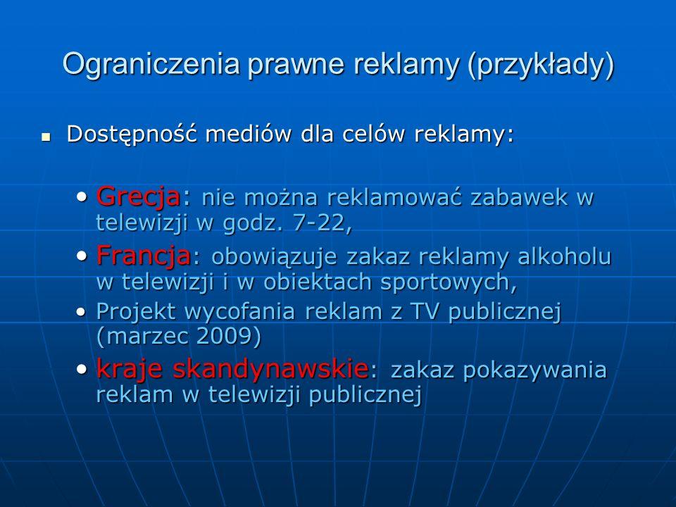 Ograniczenia prawne reklamy (przykłady)
