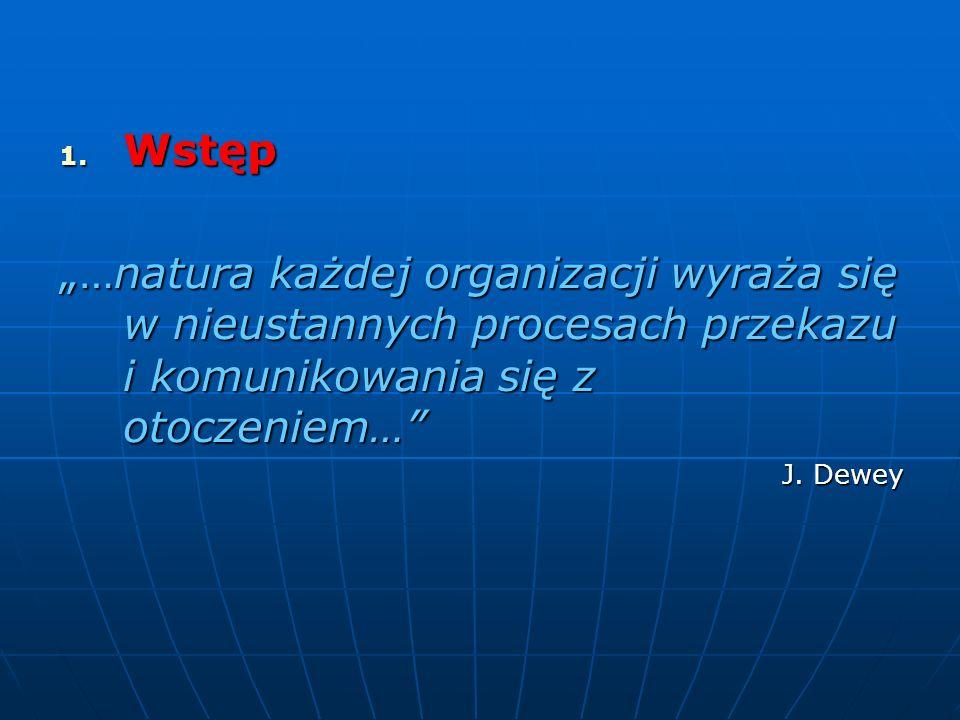 """Wstęp """"…natura każdej organizacji wyraża się w nieustannych procesach przekazu i komunikowania się z otoczeniem…"""