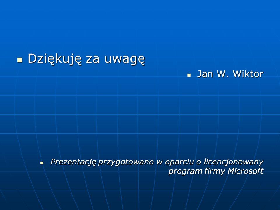 Dziękuję za uwagę Jan W. Wiktor