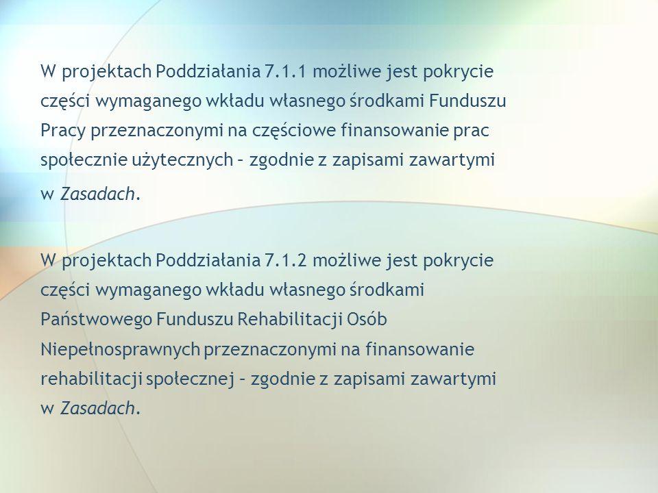 W projektach Poddziałania 7.1.1 możliwe jest pokrycie