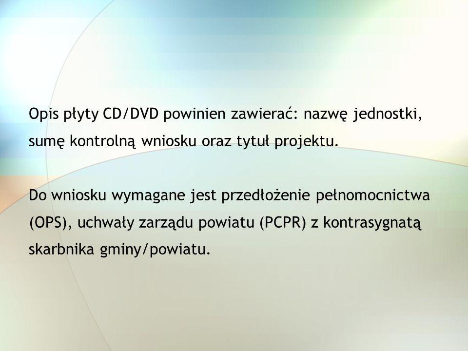 Opis płyty CD/DVD powinien zawierać: nazwę jednostki,