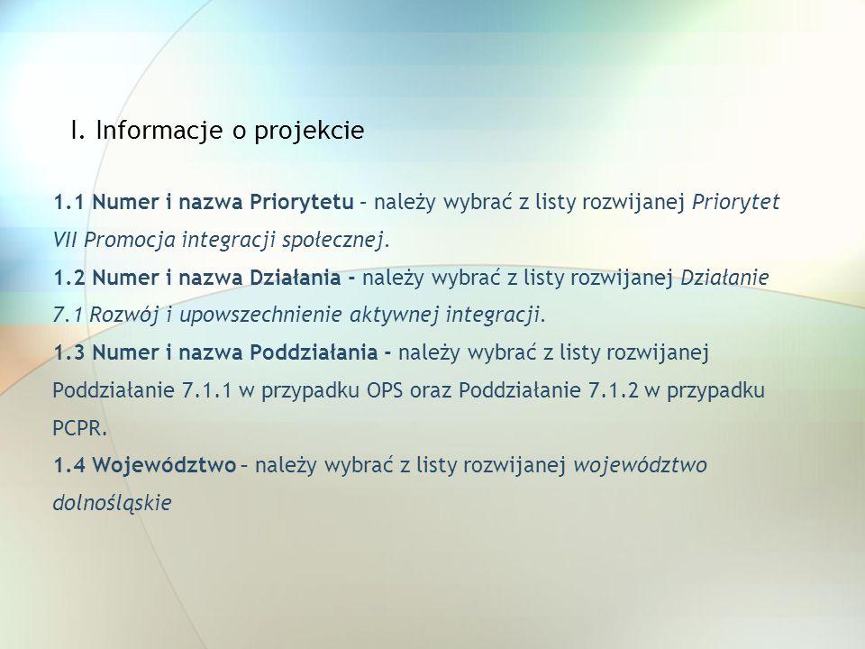 I. Informacje o projekcie