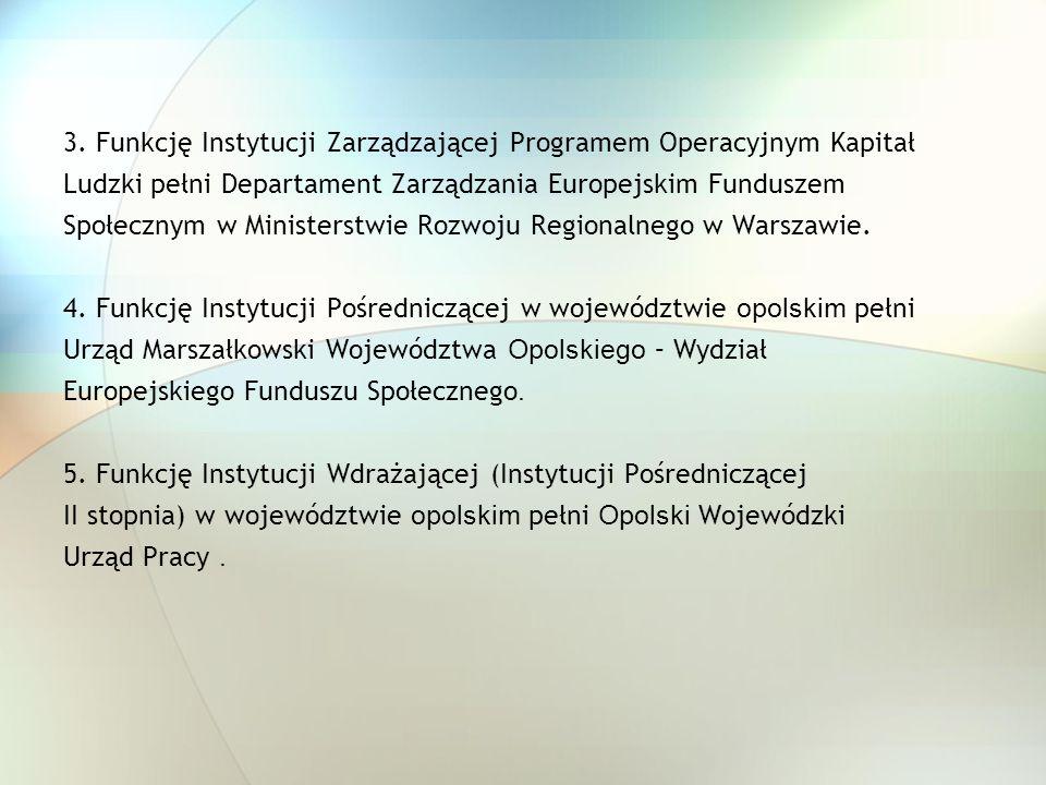 3. Funkcję Instytucji Zarządzającej Programem Operacyjnym Kapitał