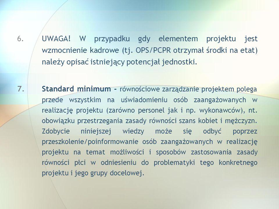 UWAGA. W przypadku gdy elementem projektu jest wzmocnienie kadrowe (tj