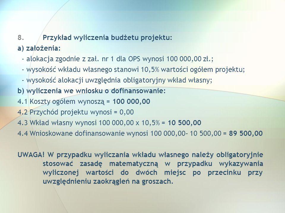 Przykład wyliczenia budżetu projektu: