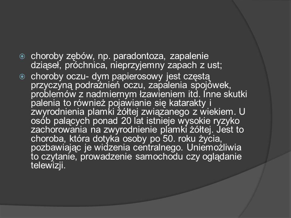 choroby zębów, np. paradontoza, zapalenie dziąseł, próchnica, nieprzyjemny zapach z ust;