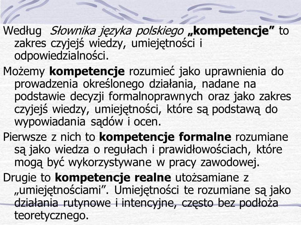 """Według Słownika języka polskiego """"kompetencje to zakres czyjejś wiedzy, umiejętności i odpowiedzialności."""