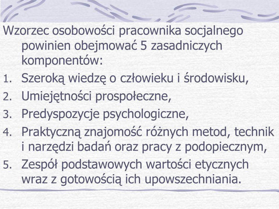 Wzorzec osobowości pracownika socjalnego powinien obejmować 5 zasadniczych komponentów: