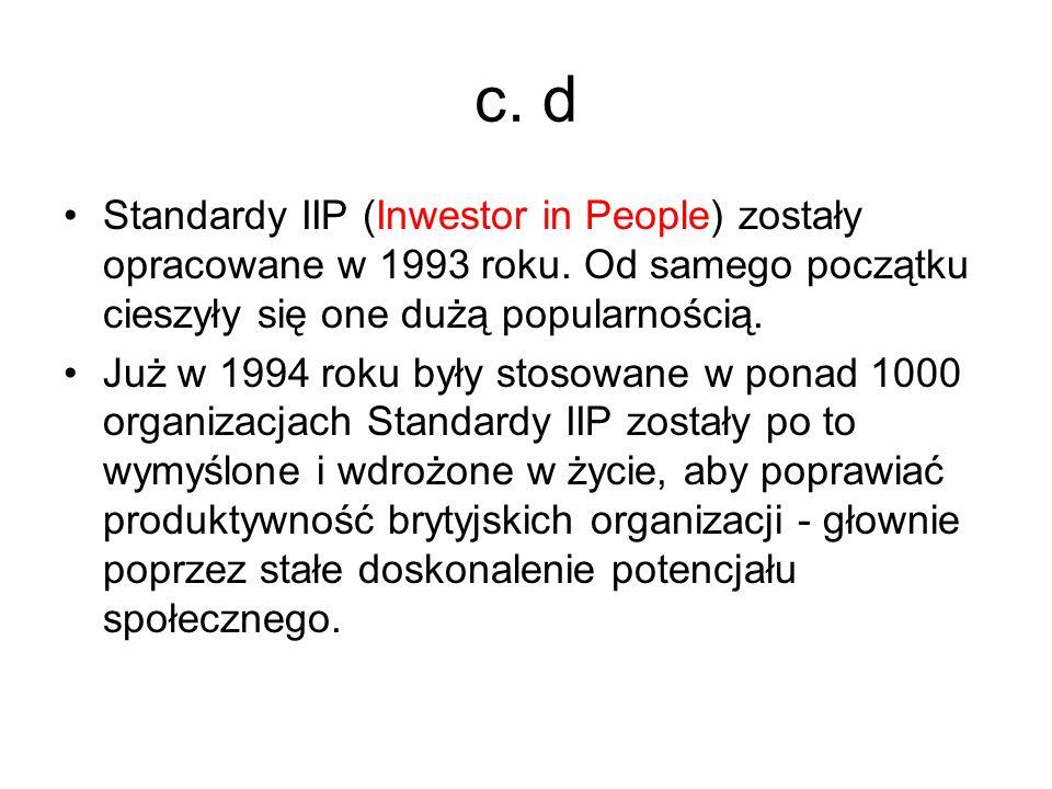 c. d Standardy IIP (Inwestor in People) zostały opracowane w 1993 roku. Od samego początku cieszyły się one dużą popularnością.