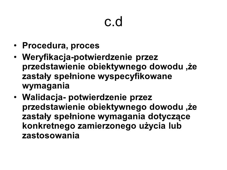 c.d Procedura, proces. Weryfikacja-potwierdzenie przez przedstawienie obiektywnego dowodu ,że zastały spełnione wyspecyfikowane wymagania.