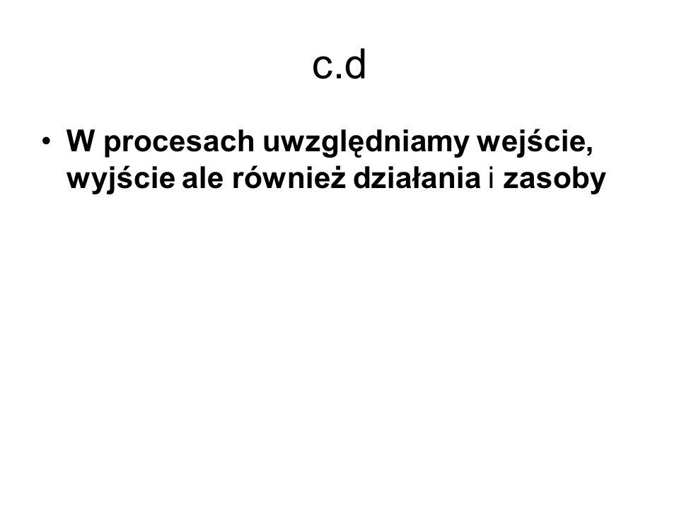 c.d W procesach uwzględniamy wejście, wyjście ale również działania i zasoby