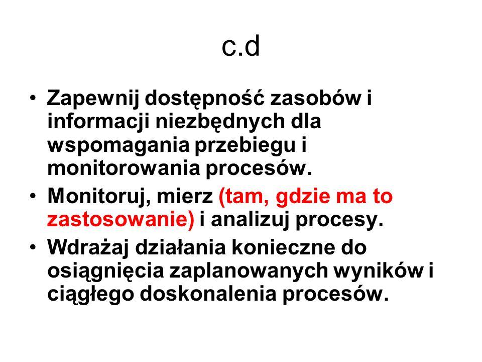 c.d Zapewnij dostępność zasobów i informacji niezbędnych dla wspomagania przebiegu i monitorowania procesów.
