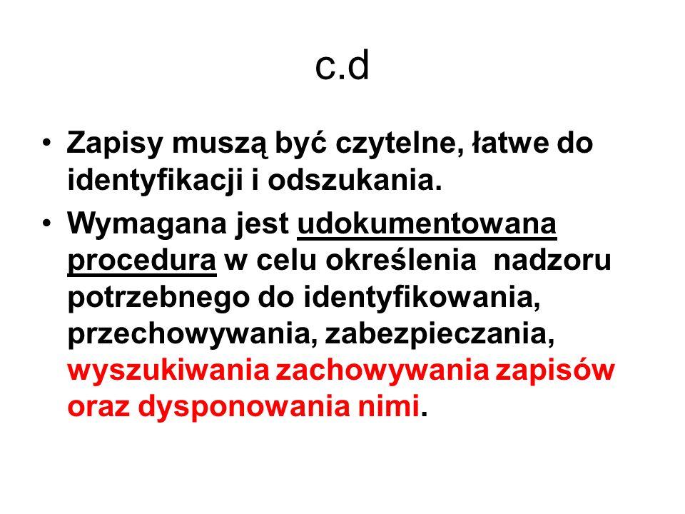 c.d Zapisy muszą być czytelne, łatwe do identyfikacji i odszukania.