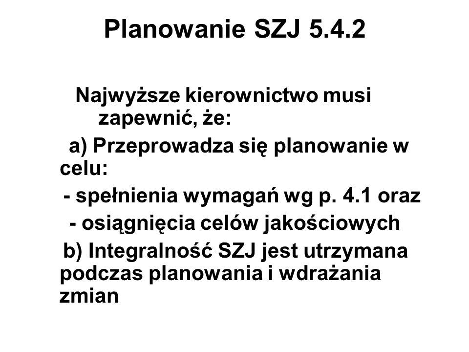 Planowanie SZJ 5.4.2 Najwyższe kierownictwo musi zapewnić, że:
