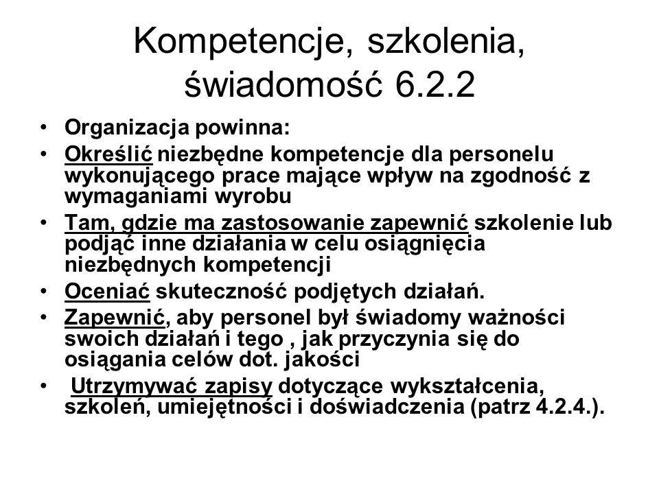 Kompetencje, szkolenia, świadomość 6.2.2