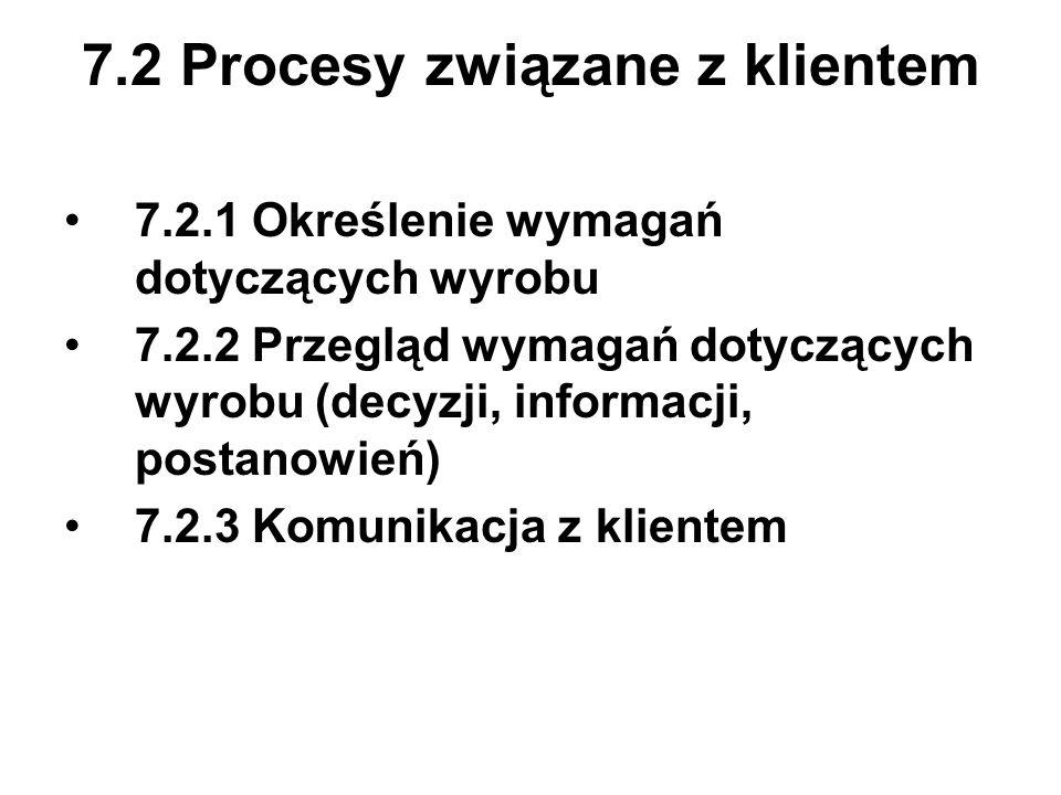 7.2 Procesy związane z klientem