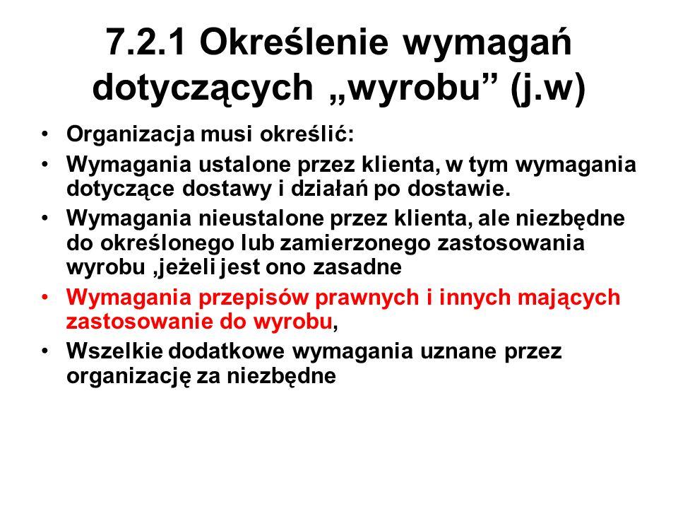 """7.2.1 Określenie wymagań dotyczących """"wyrobu (j.w)"""