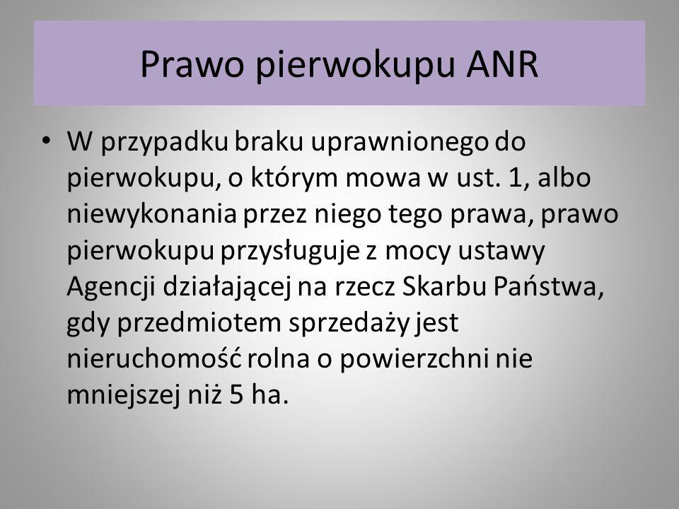 Prawo pierwokupu ANR