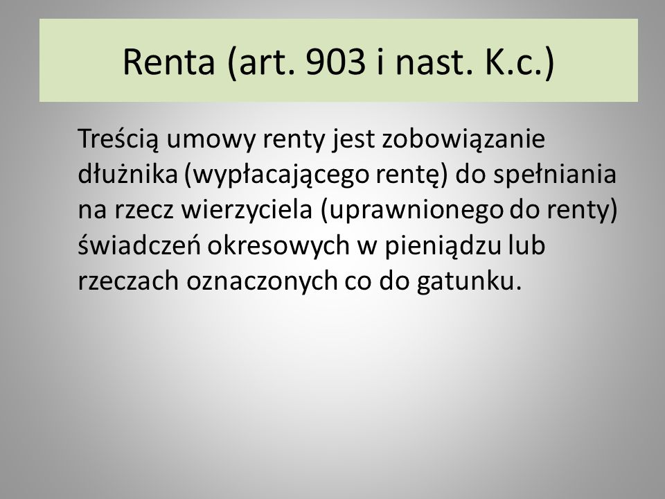 Renta (art. 903 i nast. K.c.)