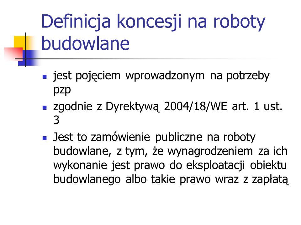 Definicja koncesji na roboty budowlane