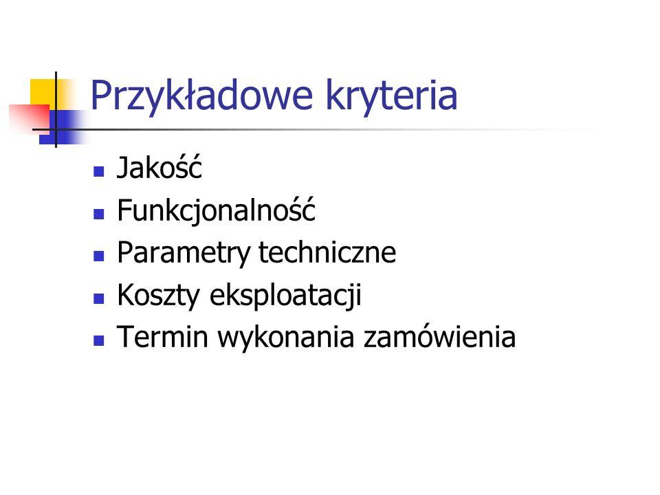 Przykładowe kryteria Jakość Funkcjonalność Parametry techniczne