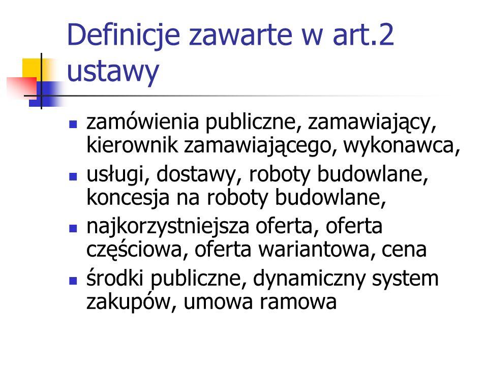 Definicje zawarte w art.2 ustawy