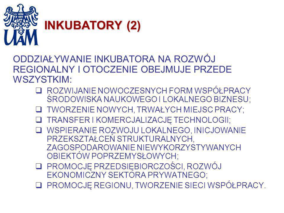 INKUBATORY (2) ODDZIAŁYWANIE INKUBATORA NA ROZWÓJ REGIONALNY I OTOCZENIE OBEJMUJE PRZEDE WSZYSTKIM: