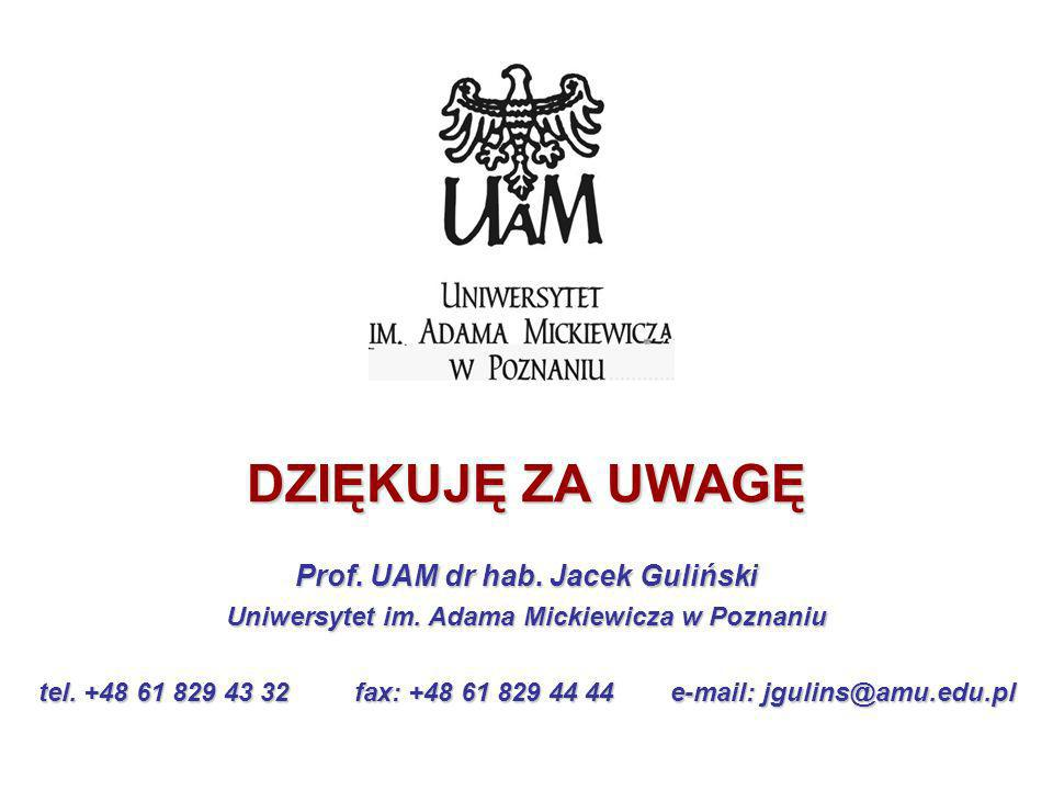 DZIĘKUJĘ ZA UWAGĘ Prof. UAM dr hab. Jacek Guliński