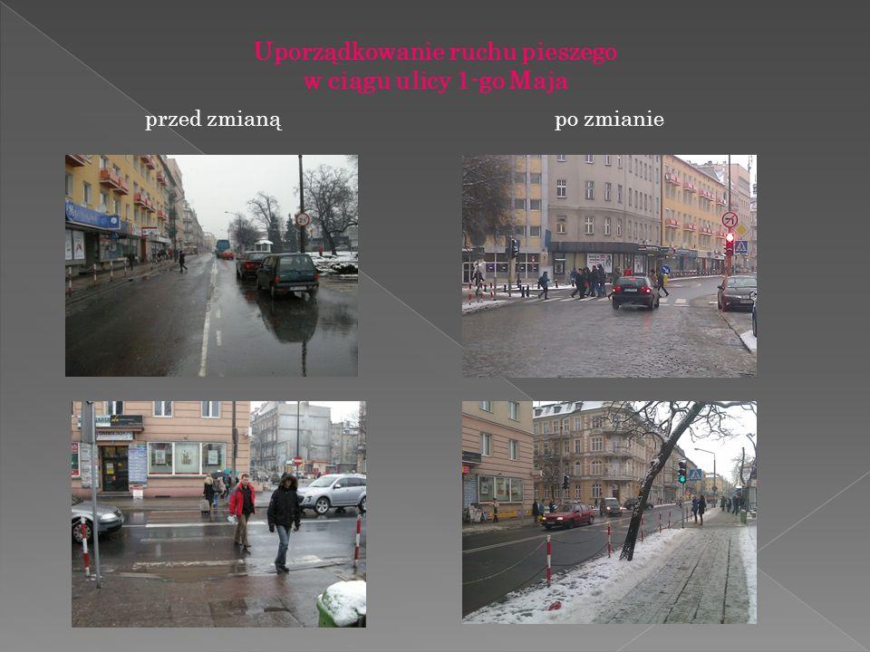 Uporządkowanie ruchu pieszego w ciągu ulicy 1-go Maja