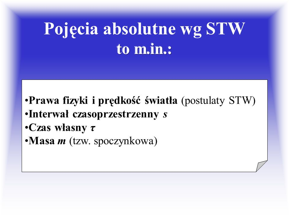 Pojęcia absolutne wg STW to m.in.: