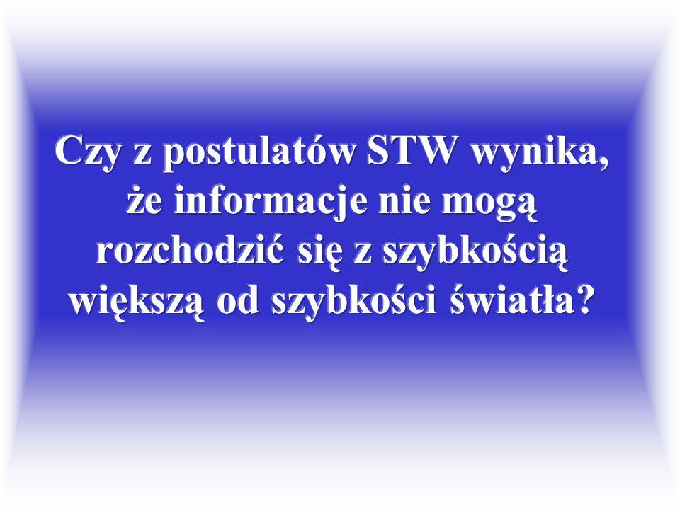 Czy z postulatów STW wynika, że informacje nie mogą rozchodzić się z szybkością większą od szybkości światła