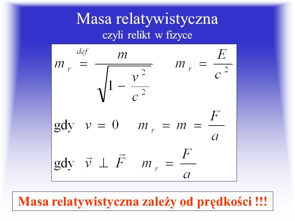 Masa relatywistyczna czyli relikt w fizyce
