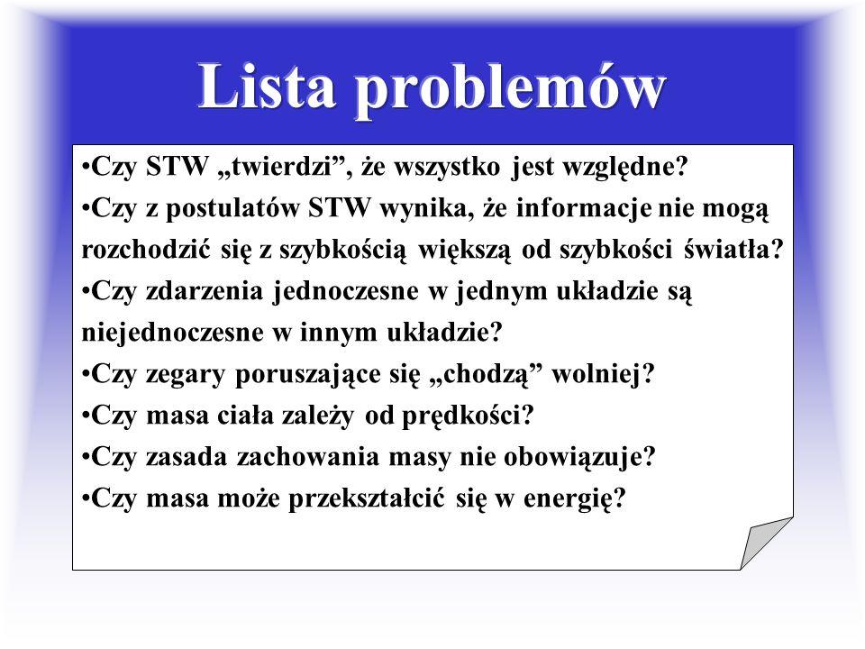 """Lista problemów Czy STW """"twierdzi , że wszystko jest względne"""