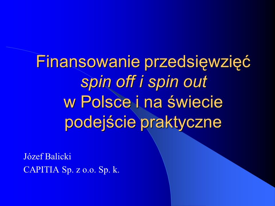Józef Balicki CAPITIA Sp. z o.o. Sp. k.